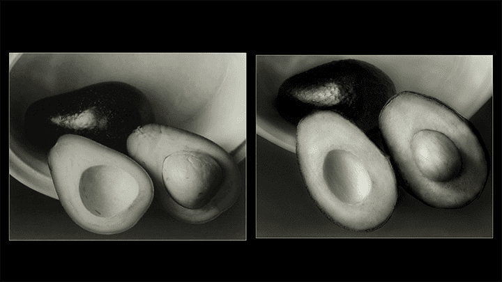 Two photos of avocados, one by Edward Steichen from 1930, and a remake by Ira Aikman from 2020.