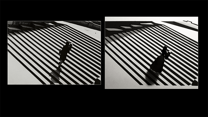 Two photographs of stairs in high contrast with a figure on them; one is the original by Alexander Rodchenko, the other a remake by Ira Aikman.