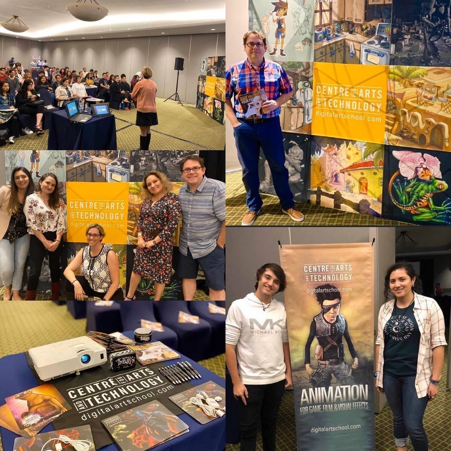 Collage of pictures of Sean Ridgway and attendees at Animation Info Session in Mexico City.