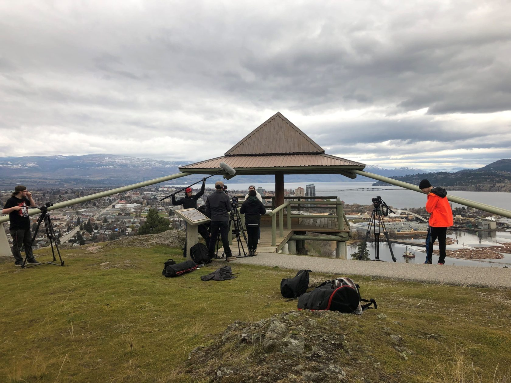 Students filming on Knox Mountain, Kelowna